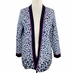 Nic+Zoe Gray Leopard Print Knit Cardigan